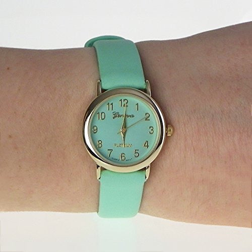Leather Band Geneva Fashion Watch (Mint Green)