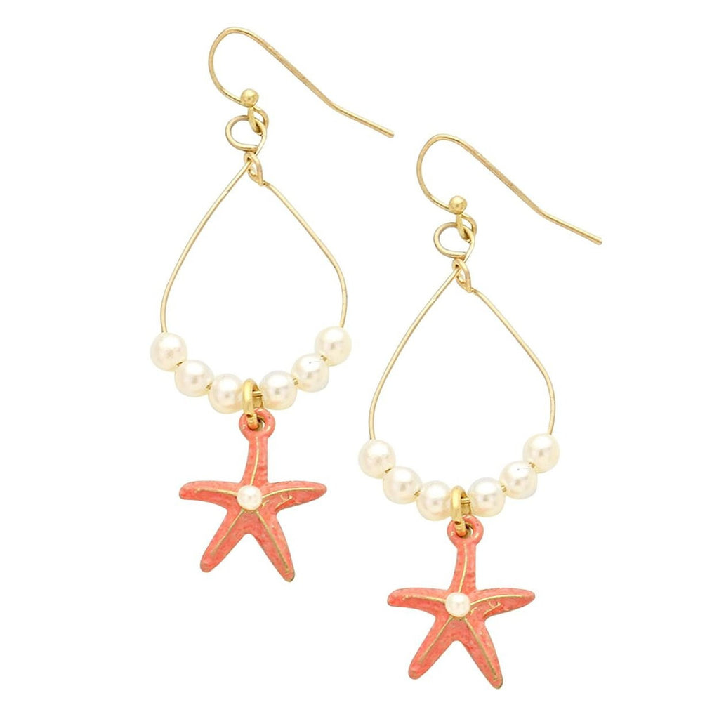 Beach Theme Dangle Earrings Starfish Coral Color