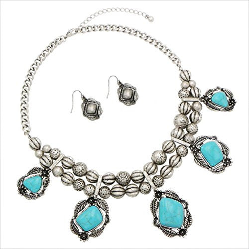 Southwest Turquoise Resin Flower and Leaf Necklace Fashion Jewelry Set