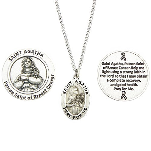 Rosemarie Collections Saint Pendant Necklace and 2 Religious Pocket Tokens (St Agatha)