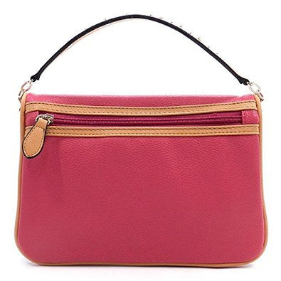 Pink Bifold Clutch with Studded Handle Optional Shoulder Strap
