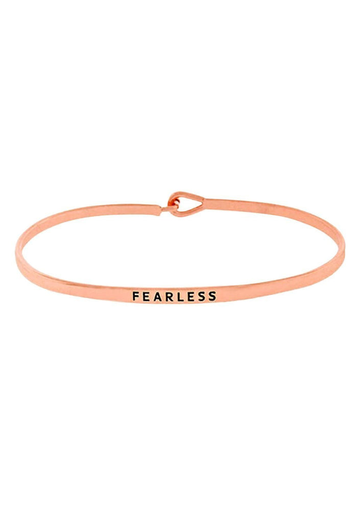 "Thin Hook Bangle Bracelet Rose Gold Color ""Fearless"""