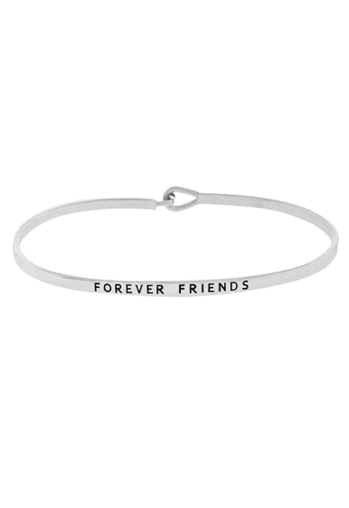 "Thin Hook Bangle Bracelet Rhodium Color ""Forever Friends"""