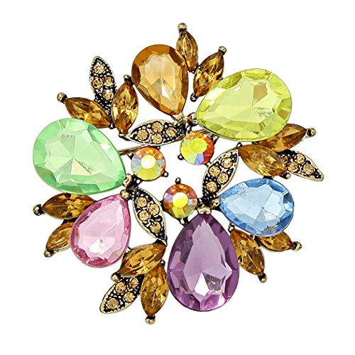 Sparkling Rhinestone Wreath Statement Brooch Pin (Spring Multicolor)