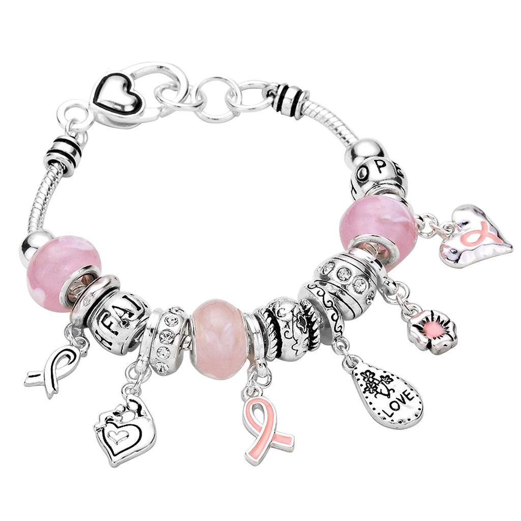 "Inspirational Engraved ""Faith Hope Love"" Pink Ribbon Beaded Charm Bracelet"