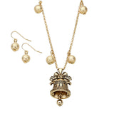 Vintage Style Jingle Bell Pendant Necklace and Earrings