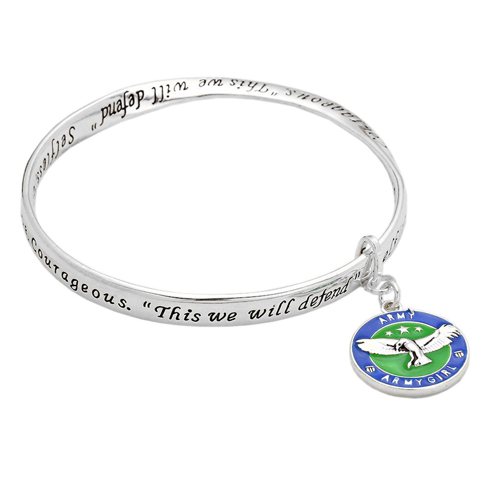 Army Girl Charm Twist Bangle Bracelet
