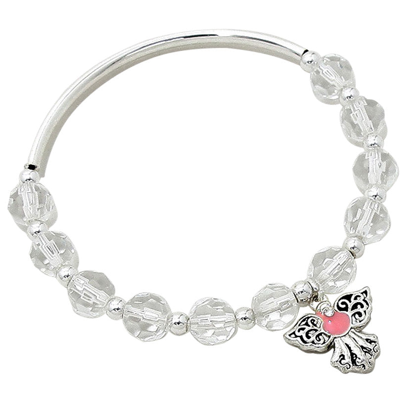 Crystal Angel Charm Pink Adjustable Bangle Bracelet