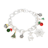 Holiday Themed Christmas Bells Charm Bracelet (Silver Tone)