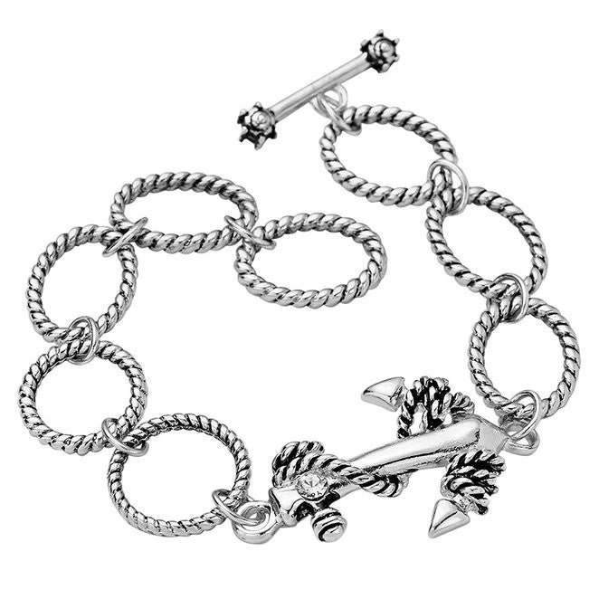 Silver Color Anchor Charm Toggle Bracelet