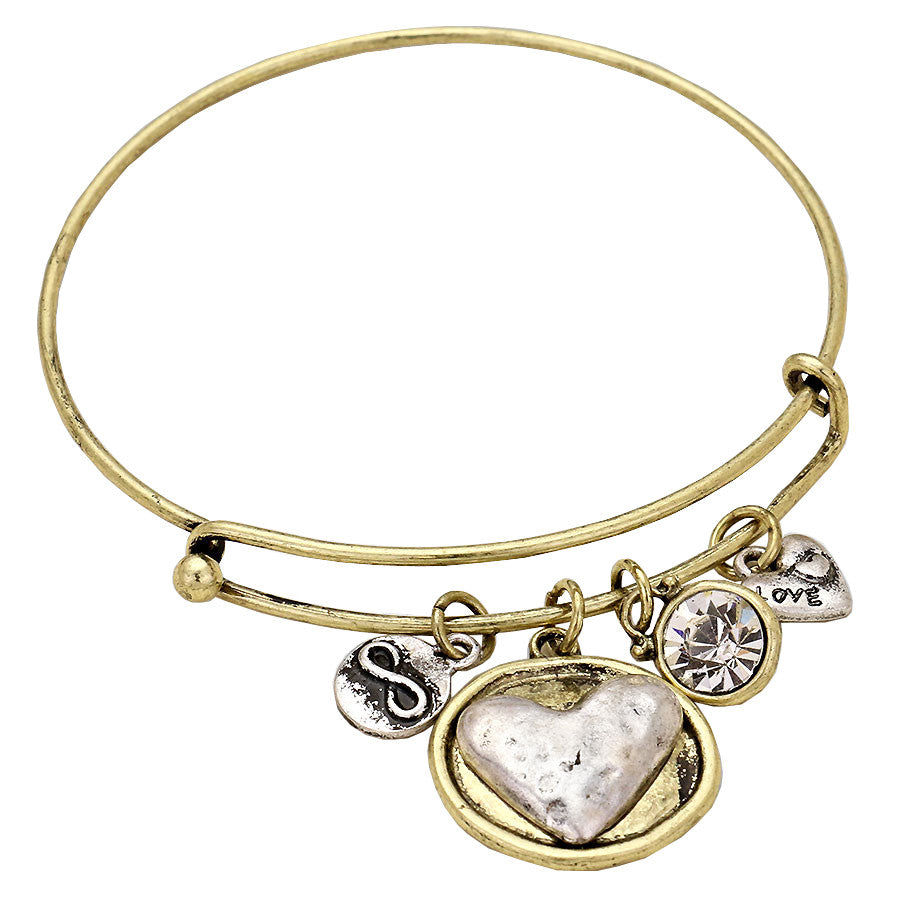Love, Infinity, Heart, Wire Bangle Charm Bracelet