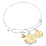 Bless Your Heart Mom Silver Wire Bangle Charm Bracelet