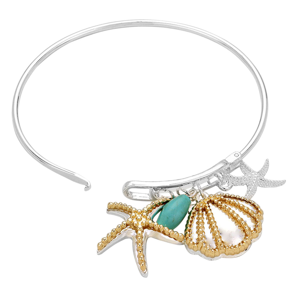 Silver Tone Bangle Bracelet with Shell, Starfish and Turquoise Bead Charms