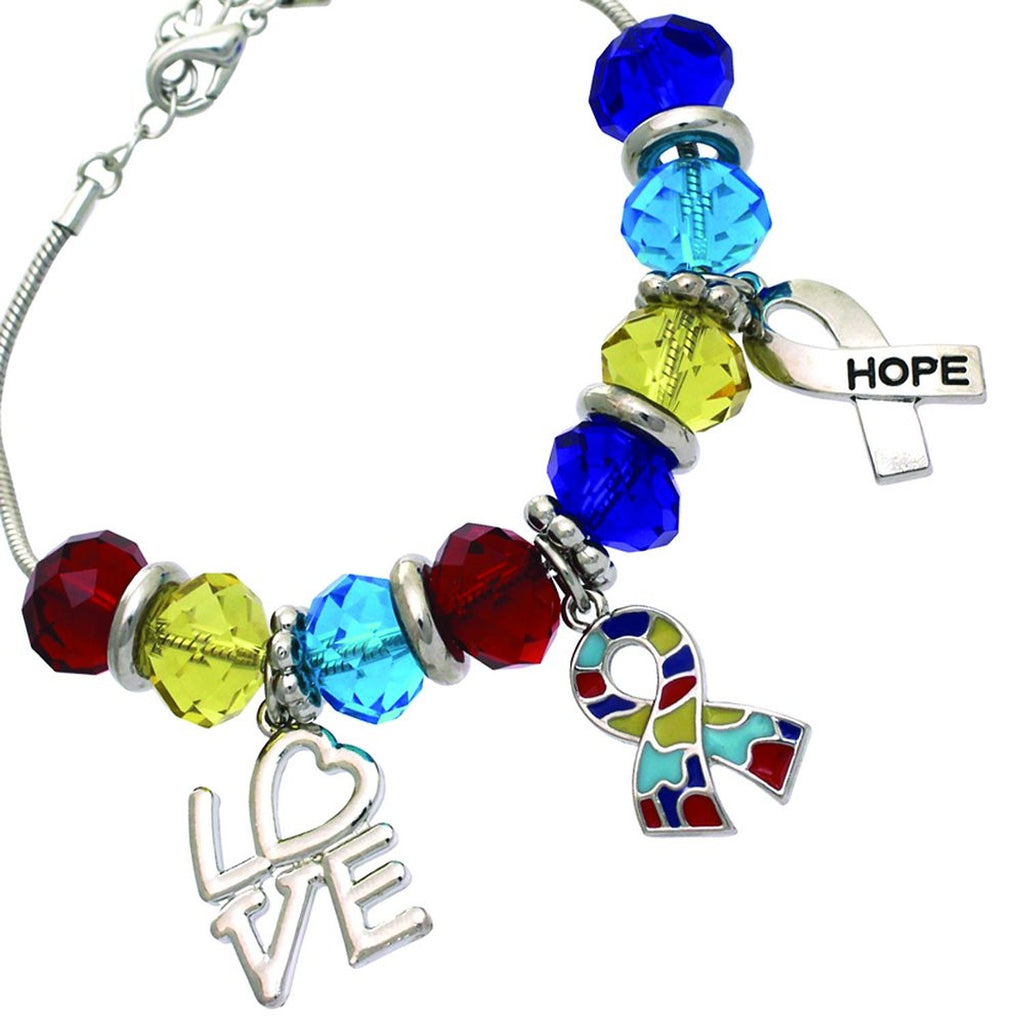 Bracelet Charm Bead Autism Awareness Love and Hope Silver Tone