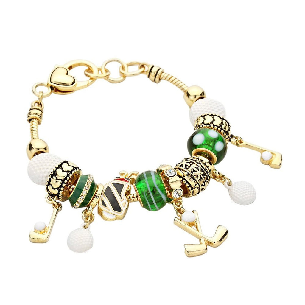 Gold Color Golf Charm Bracelet Emerald Green White