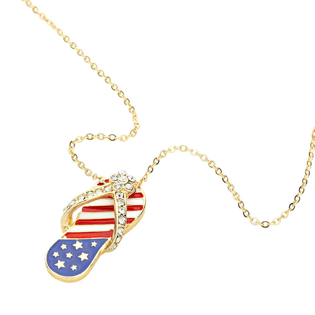 Patriotic Red White and Blue Flip Flop Pendant Necklace