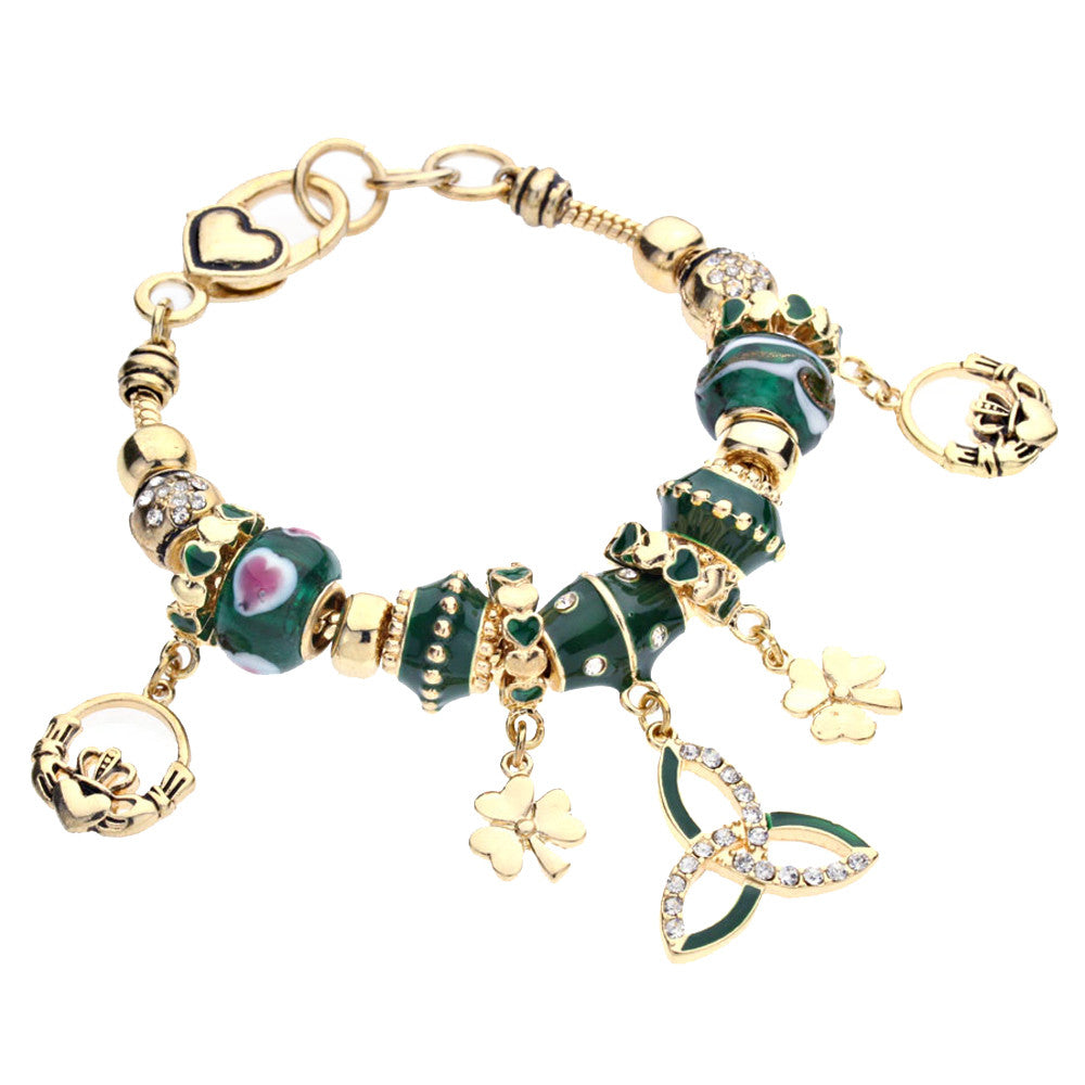 Gold Tone Irish Claddagh Triquetra and Shamrock Charm Bead Bracelet