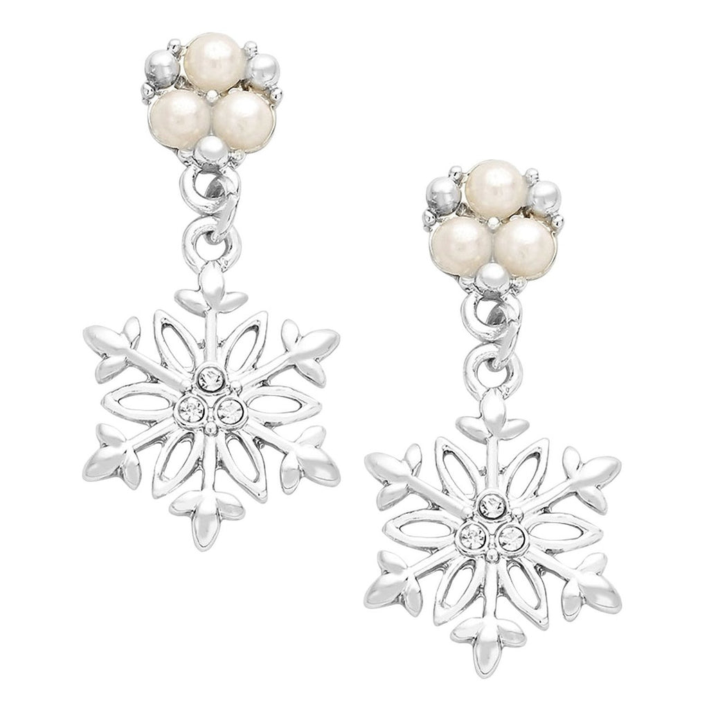 Faux Pearl and Crystal Snowflake Dangle Earrings