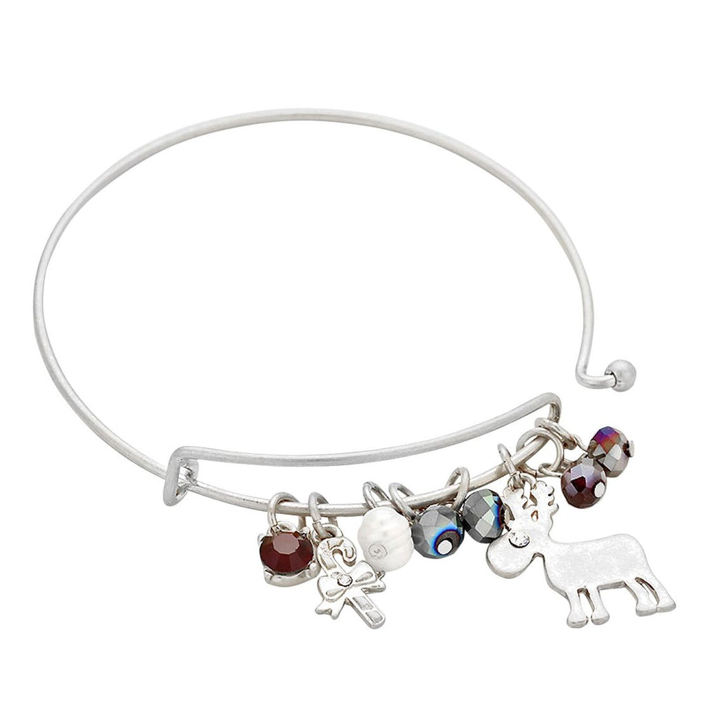 Reindeer Crystal Thin Metal Holiday Charm Bracelet Silver Tone