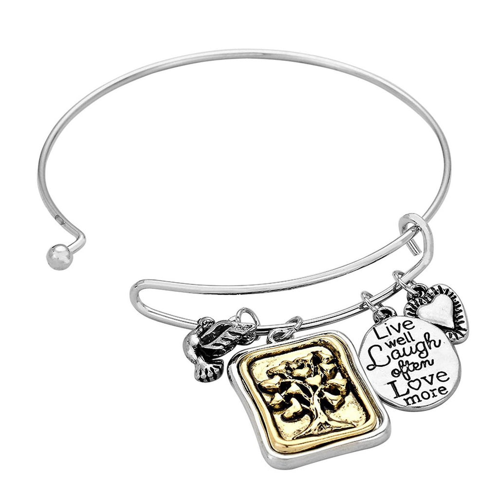 Tree of Life Charm Bangle Bracelet Silver Tone
