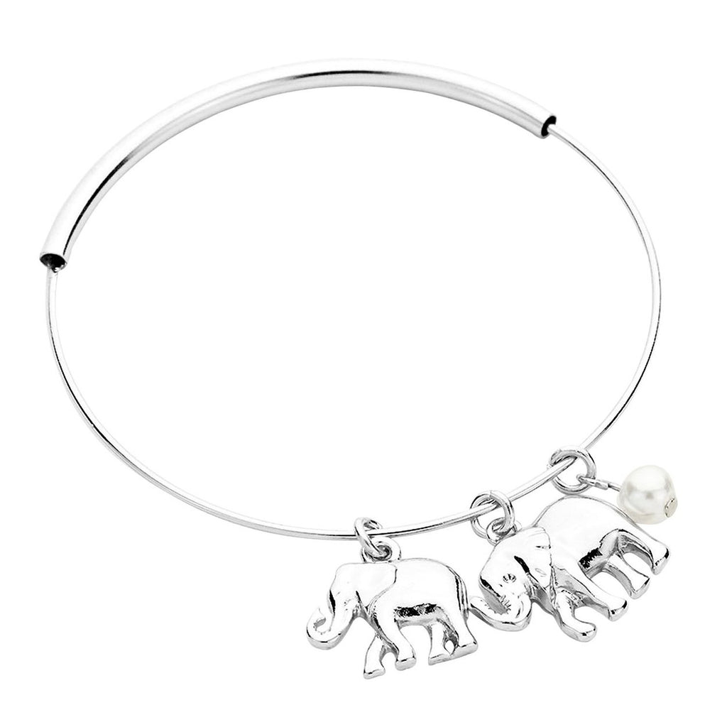 Elephant Charms Adjustable Wire Bangle Bracelet Silver Tone