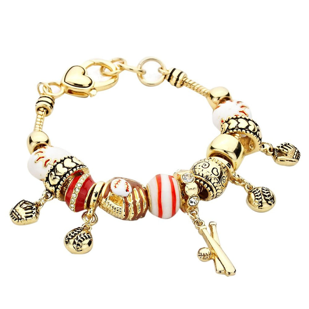 Take Me Out to the Ball Game Baseball Lover Charm Bracelet Gold Tone
