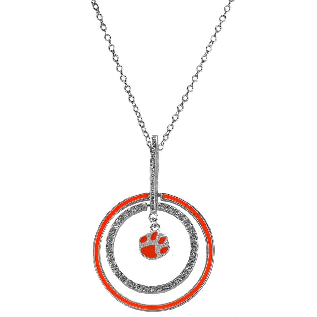 Clemson university double circle pendant necklace rosemarie clemson university double circle pendant necklace aloadofball Images