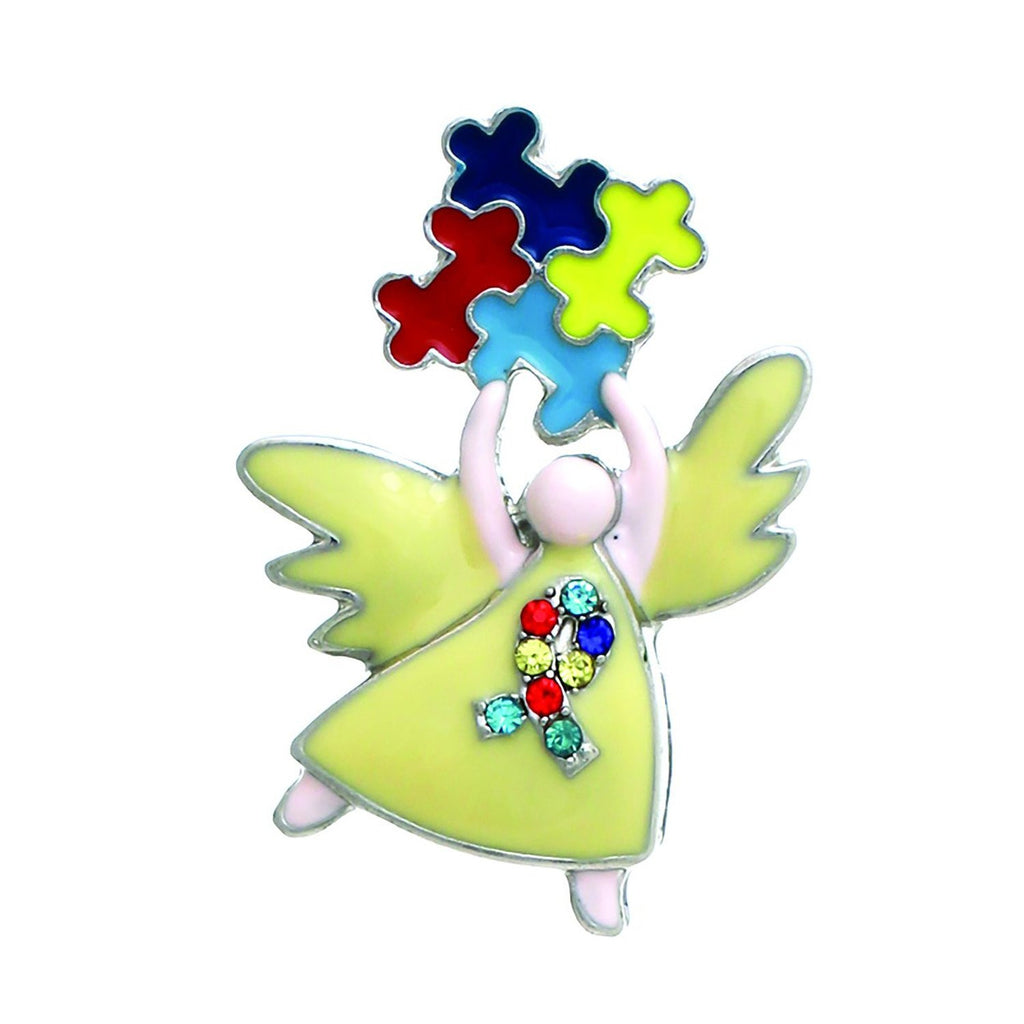 Angel with Puzzle Pieces Autism Awareness Brooch Pin