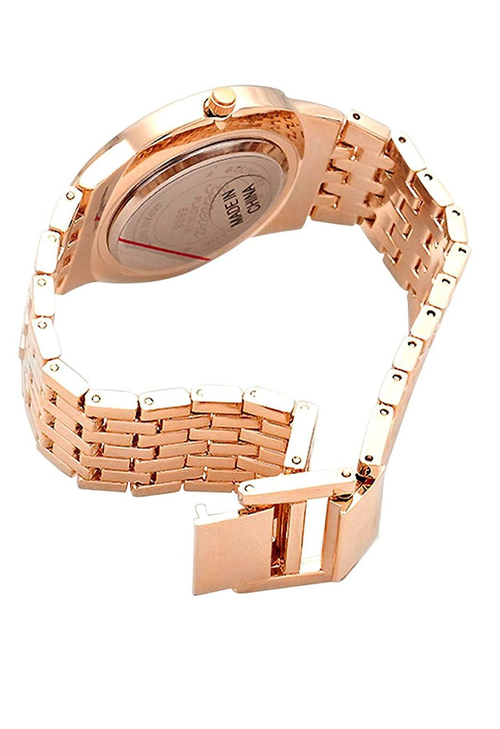 Round Dial Rose Gold Tone Metal Watch