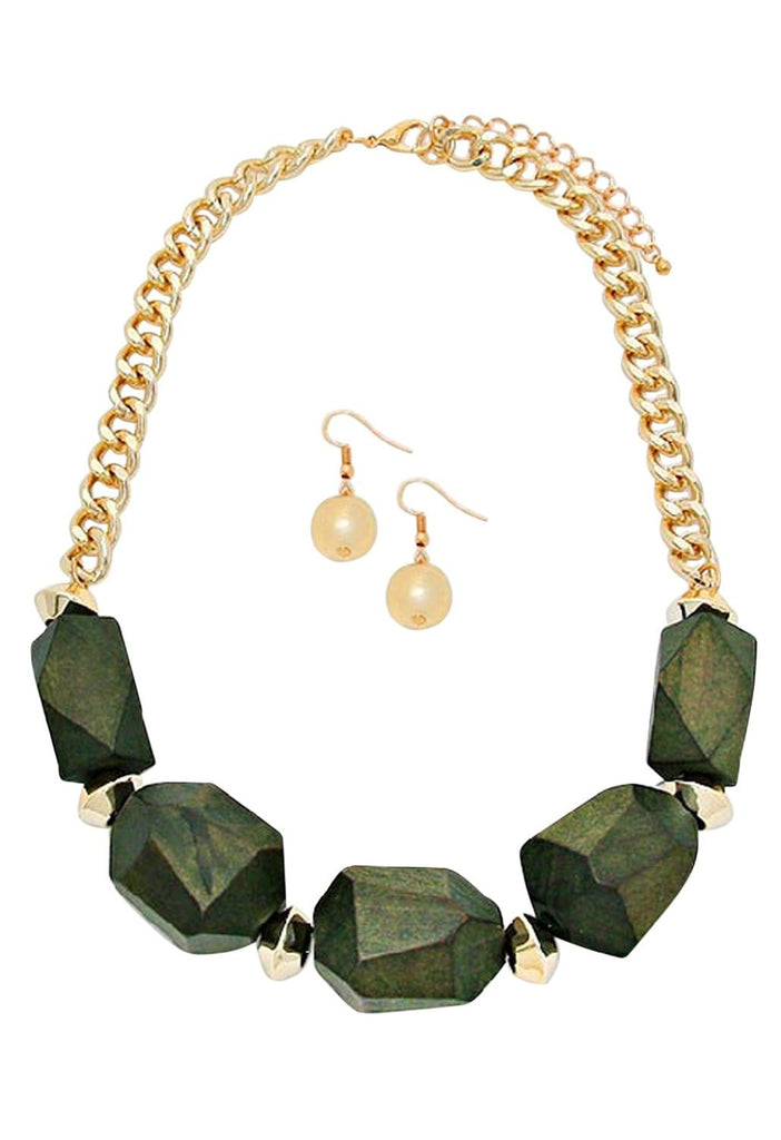 Chunky Wooden Bead Statement Necklace Earrings Set Olive Green