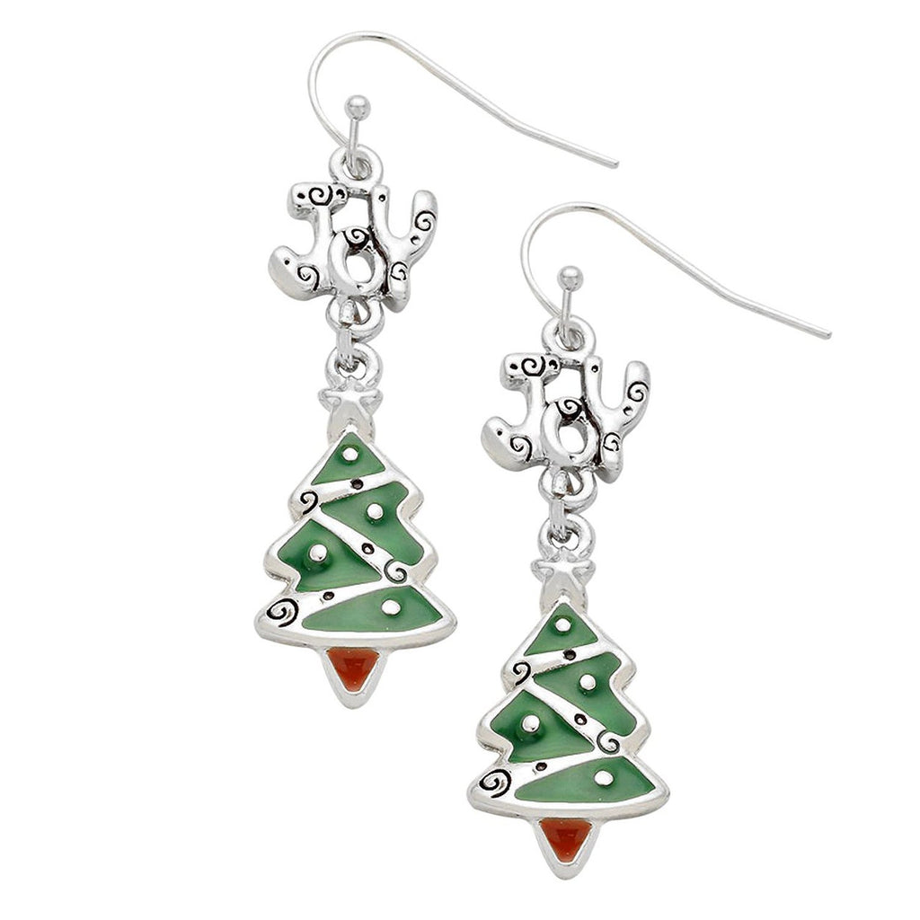 """Joy"" Enamel Christmas Tree Drop Earrings"