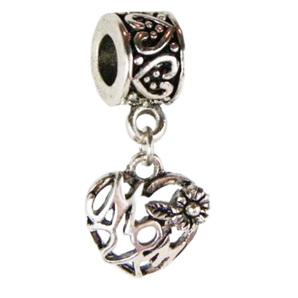 Mom Heart Bead Dangle Charm