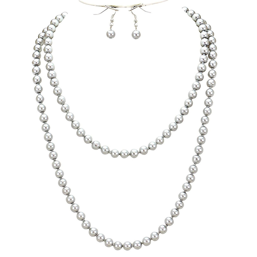 Statement Necklace/Earring Set Long Beaded Pearl Knotted Strand Silver Color