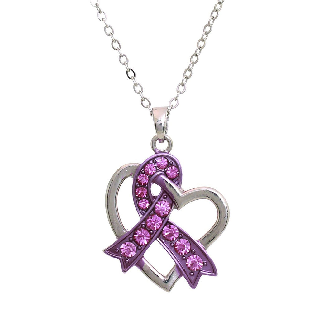 Pink Ribbon Heart Pendant Necklace