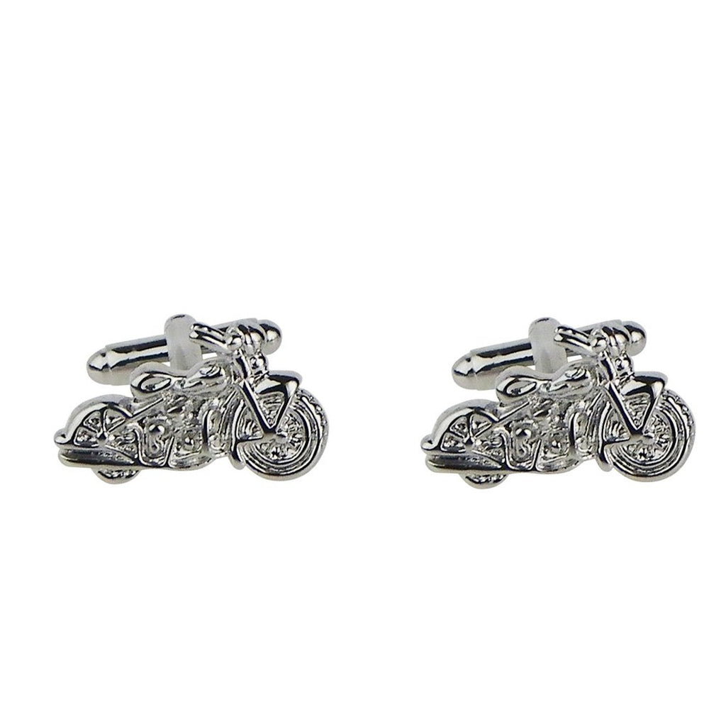 Motorcycle Silver Color Cuff Links