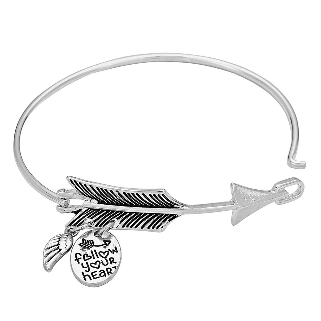 Follow Your Heart Charm Bangle Bracelet