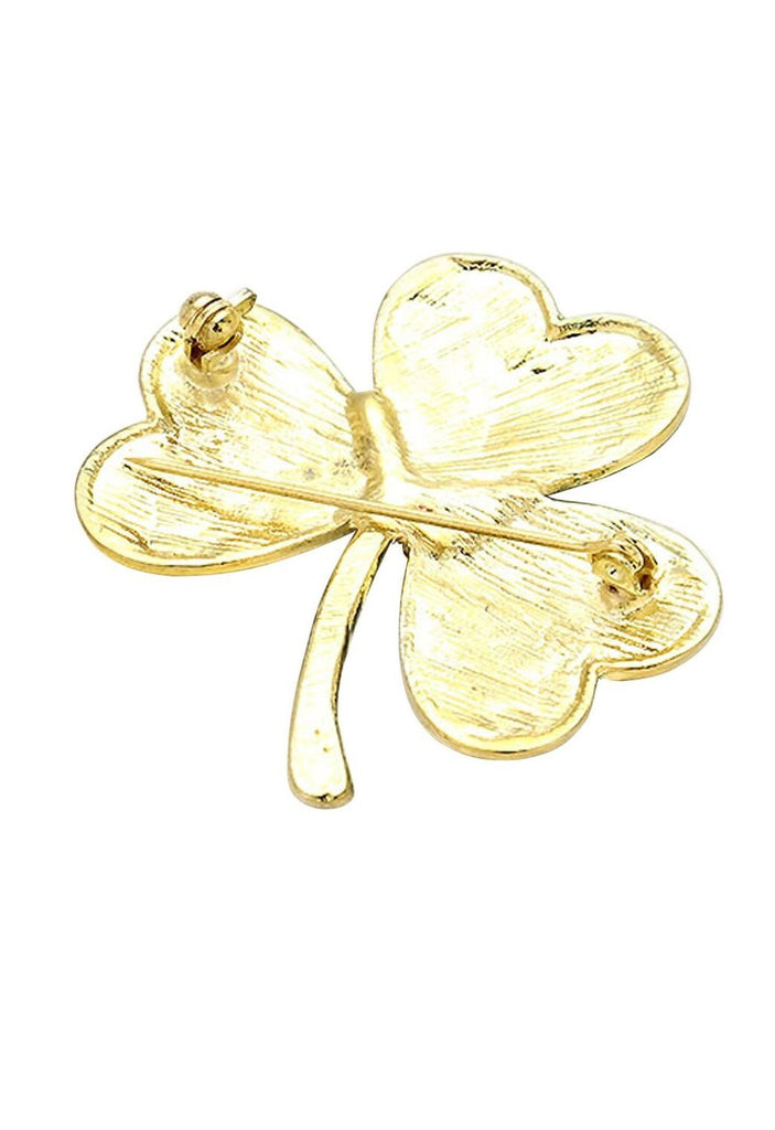 Irish Shamrock Crystal Enamel Brooch Gold Tone
