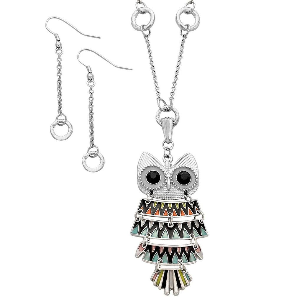 Cute Enamel and Crystal Owl Pendant Necklace Earrings Set