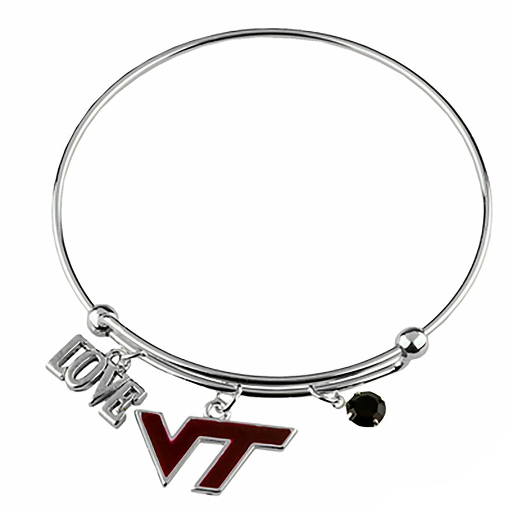 Love Virginia Tech Wire Bangle Bracelet with Maroon Team Logo VT Charm