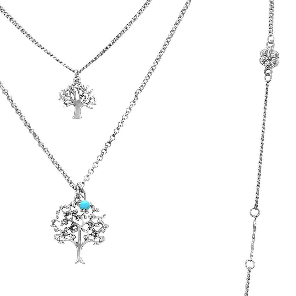 Tree of Life Multiple Strand Chain Pendant Necklace Earring Set