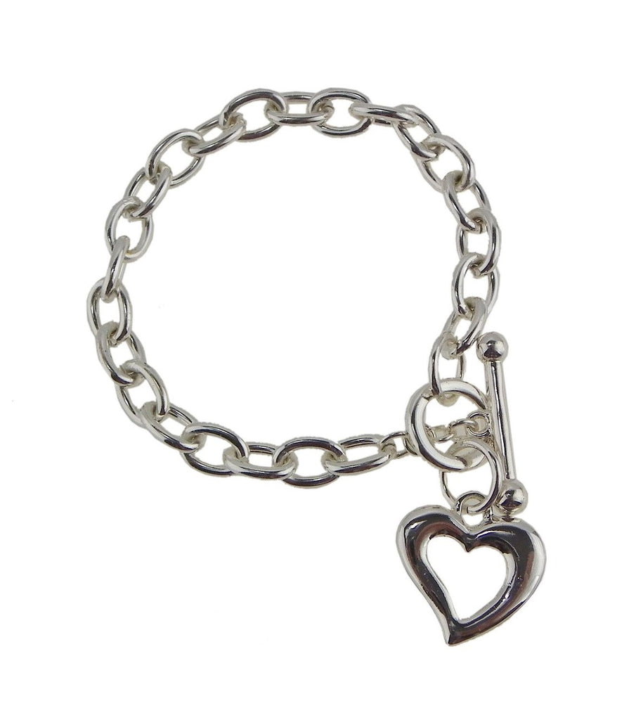 Silver Color Heart Charm Toggle Bracelet