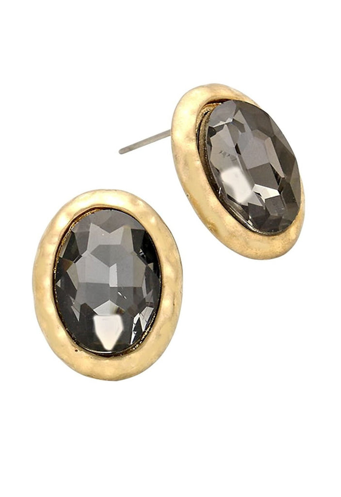 Black Diamond Color Crystal Stud Earrings