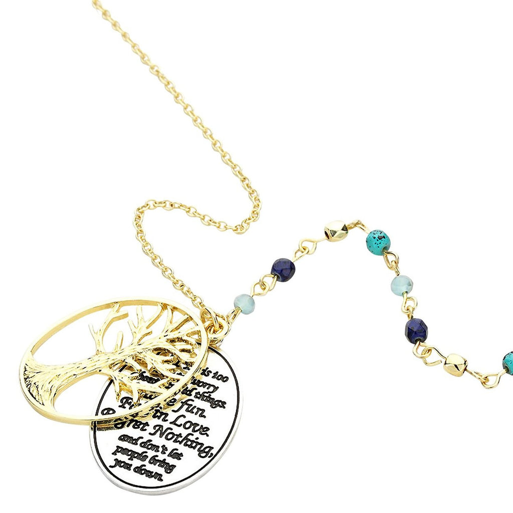 Life Is Too Short Quote Tree of Life Pendant Necklace