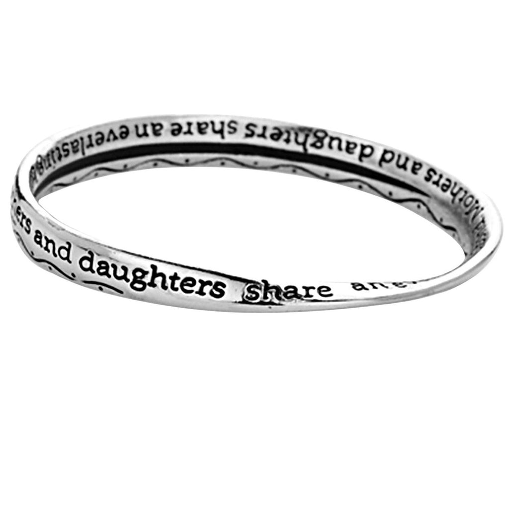 "Mother & Daughter Inspirational Bangle Bracelets. ""Mothers & Daughters Share an Everlasting Bond."""