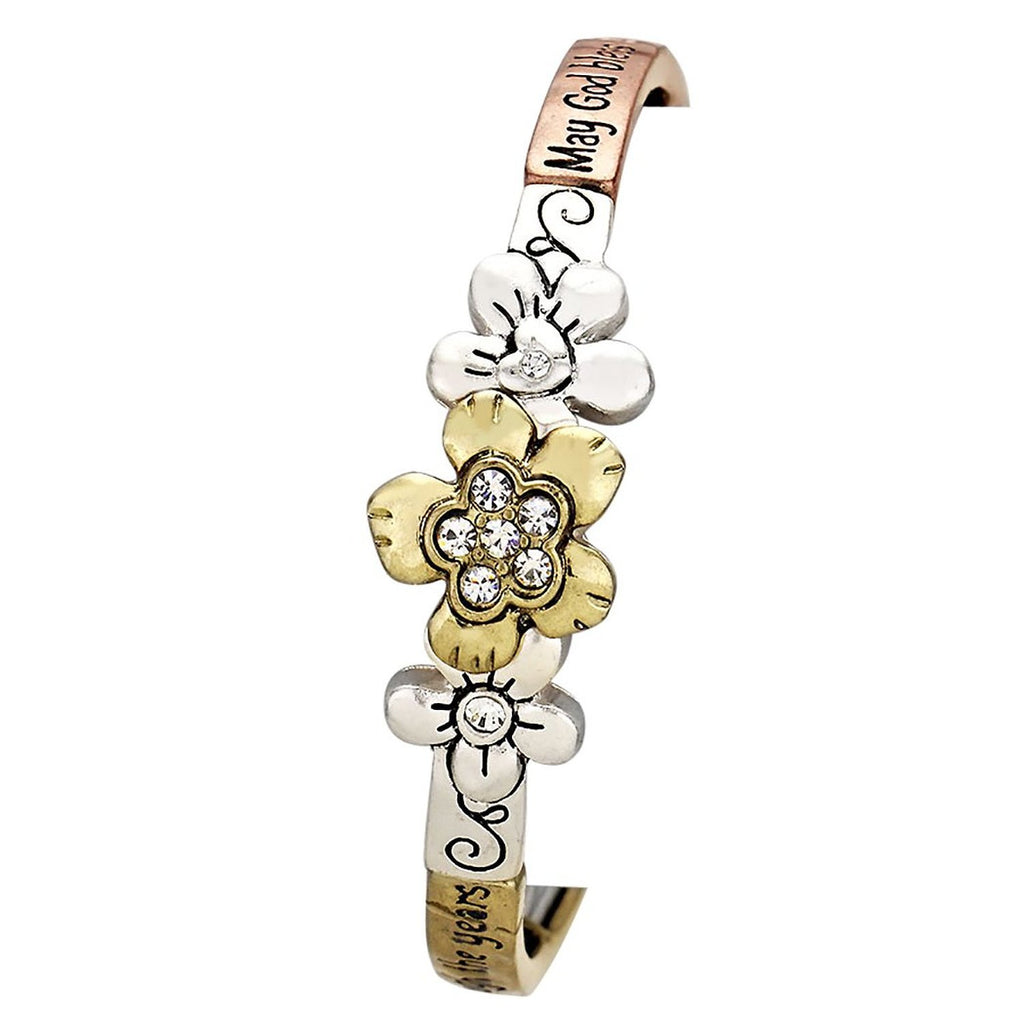 May God Bless Mom Flower Tri Color Bangle Bracelet