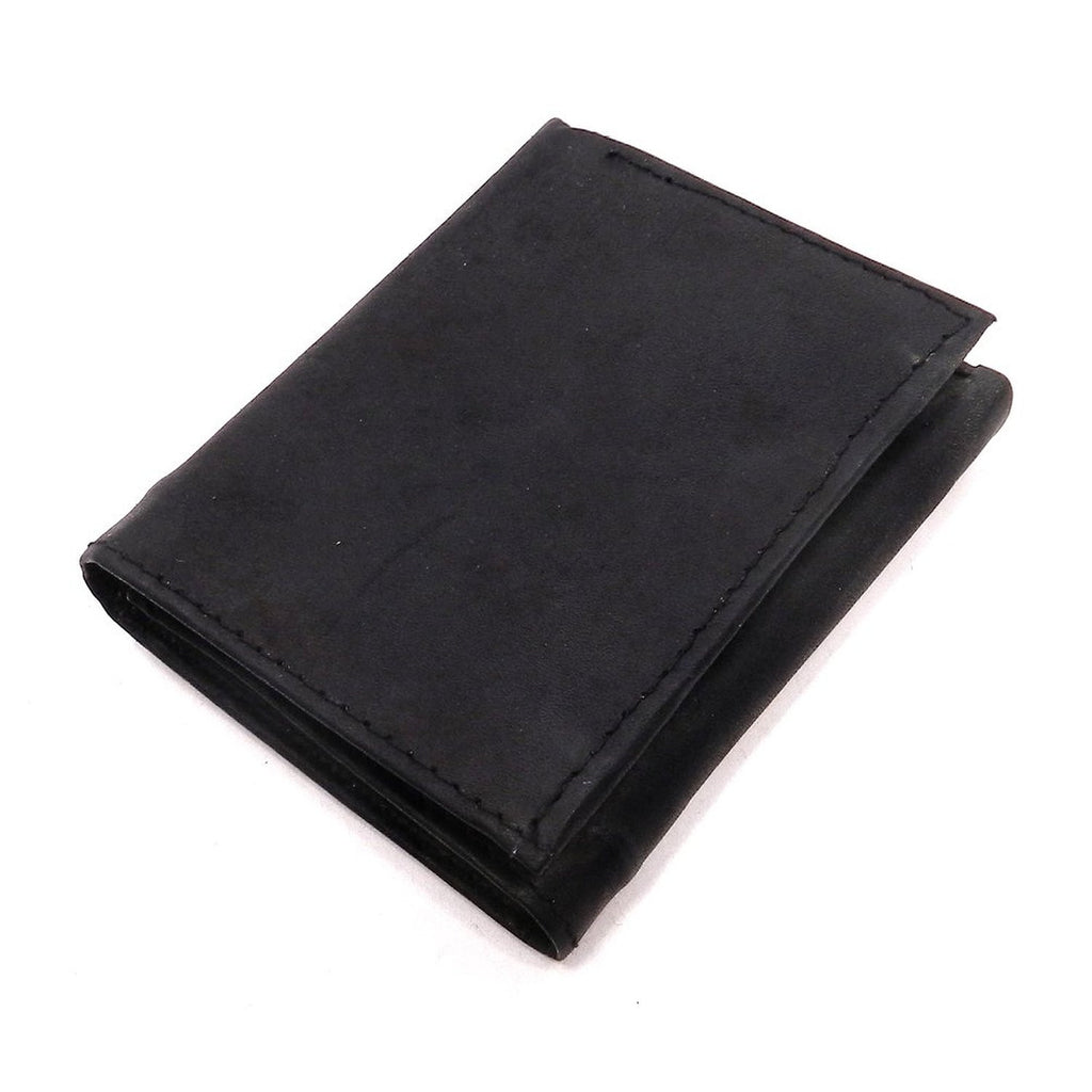 Mens Tri Fold Black Leather Wallet