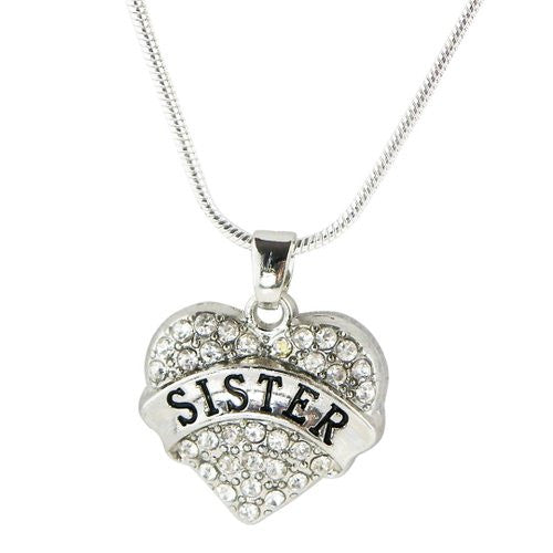 Sister Gift Crystal Heart Charm Necklace