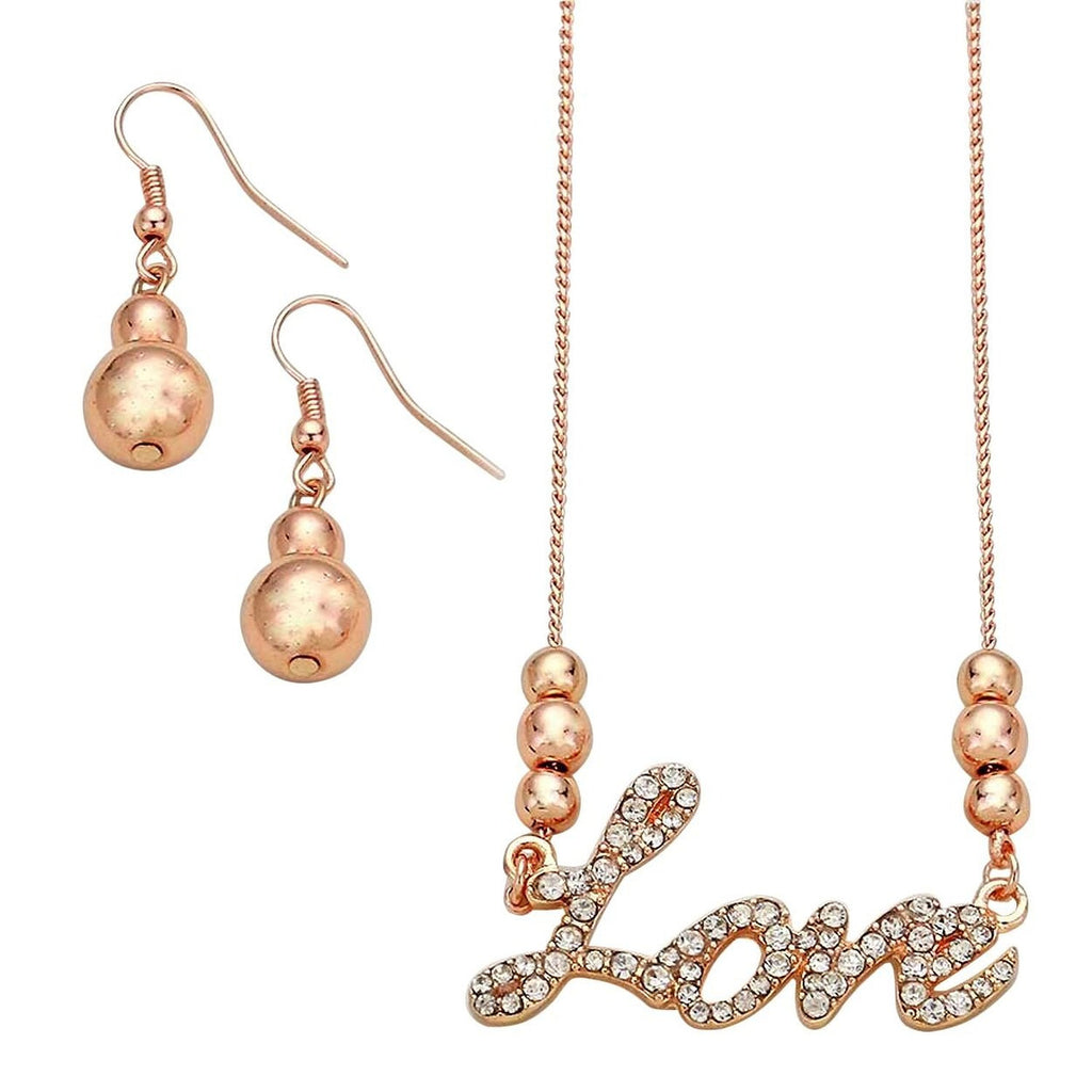 """Love"" Letter Rhinestone Pendant Necklace and Earrings Set Rose Gold Color"