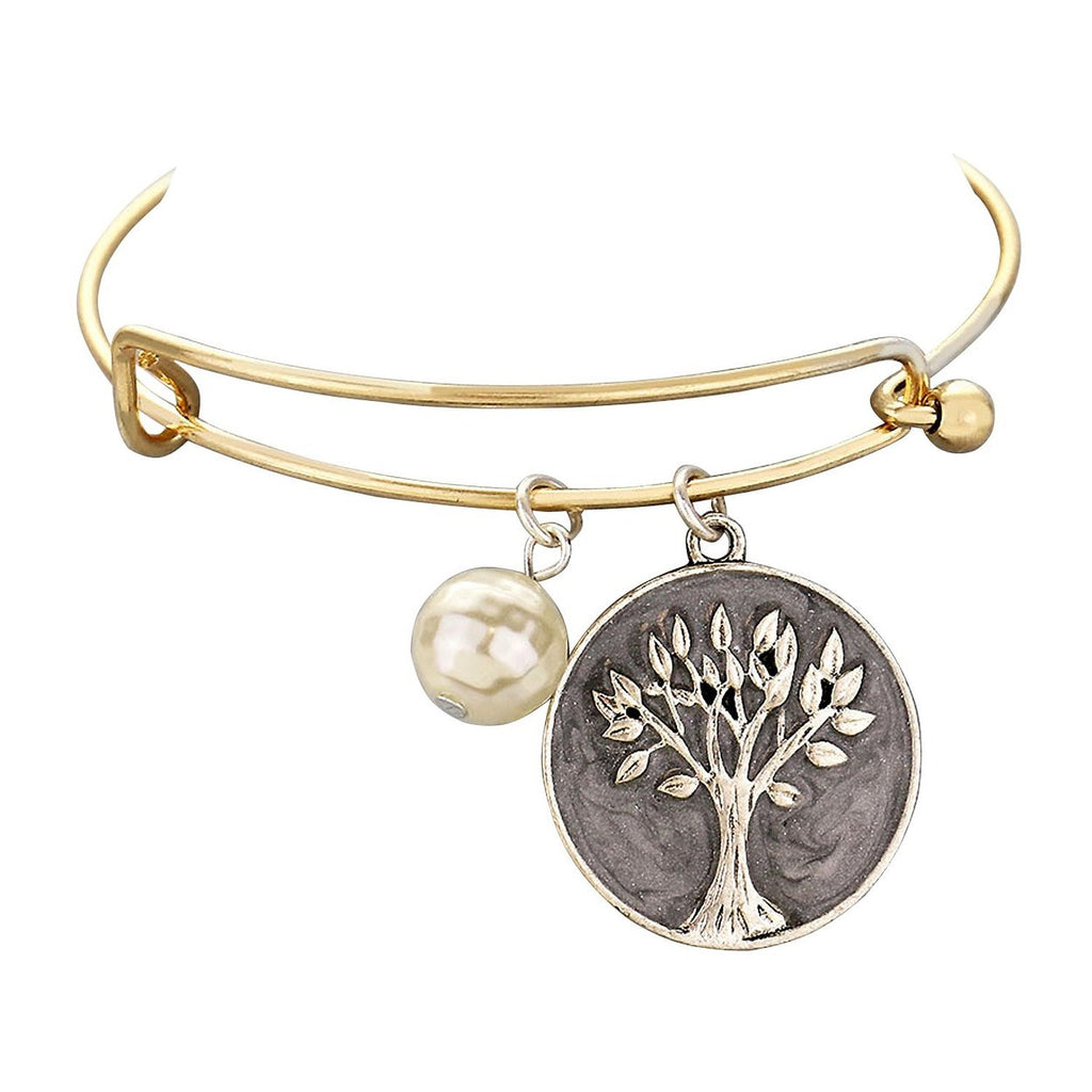 Tree of Life Faux Pearl Charm on Gold Tone Wire Bangle Bracelet