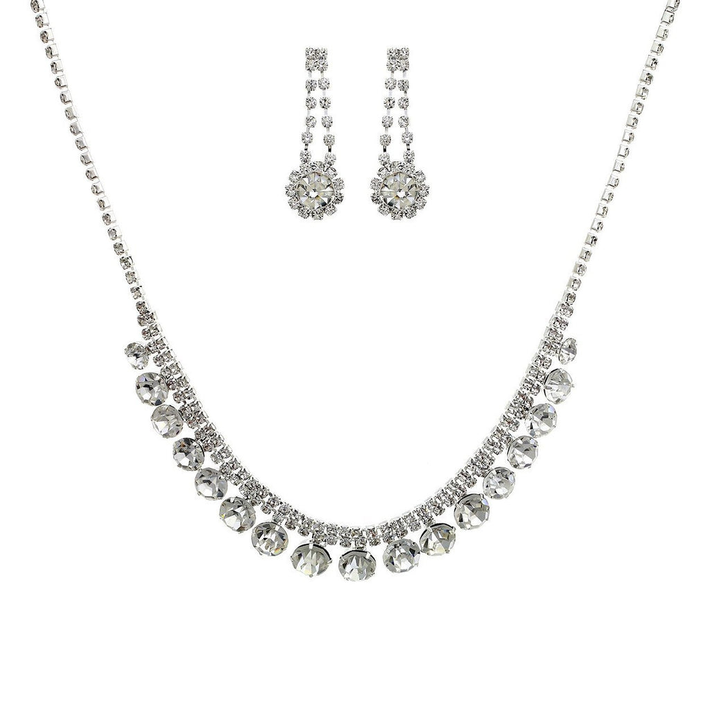 Vintage Style Rhinestone Necklace and Earrings Bridal Jewelry Set
